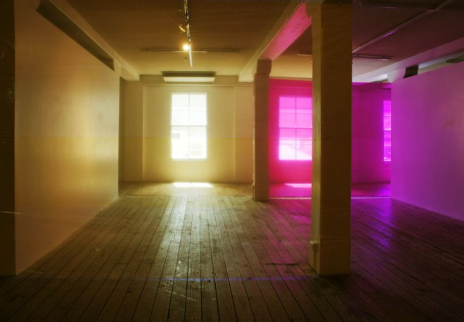 lightspacemovement (yellow magenta mix) 2012  coloured cellophane, adhesive tape. Dimensions variable